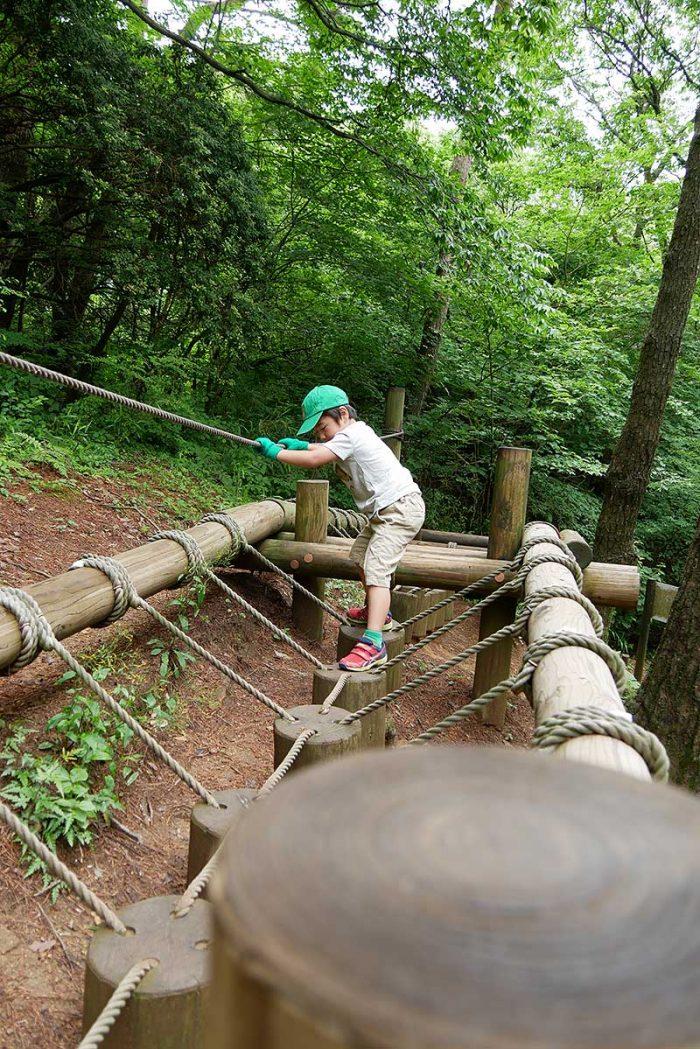 ロープを掴んで木カブの上を渡る