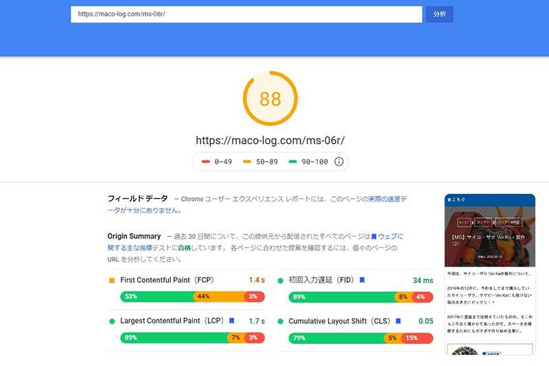PageSpeed Insights 88点