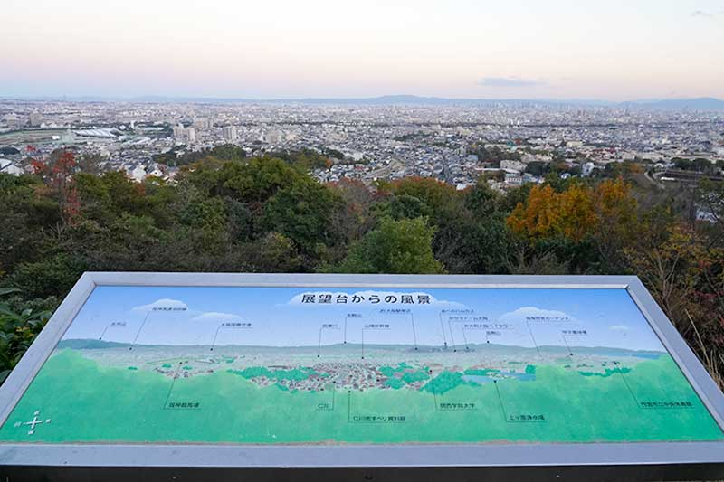 案内看板と阪神間の街並み