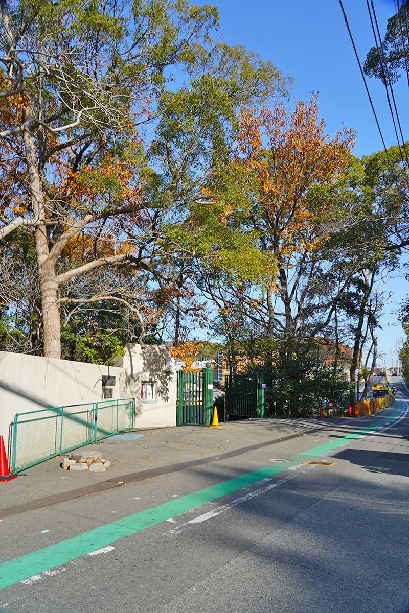 光陽園学院の正門(夙川学院)南側・キョンの待っていた風景
