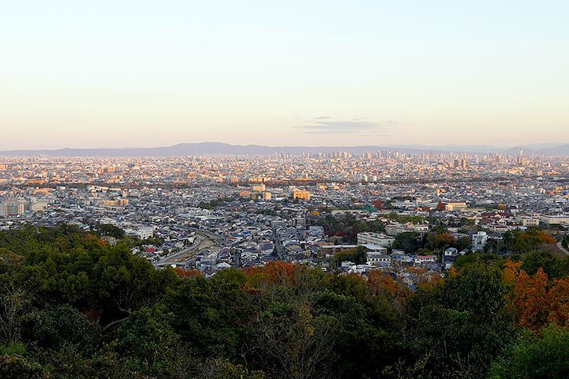 甲山森林公園の展望台からの眺望・大阪方面