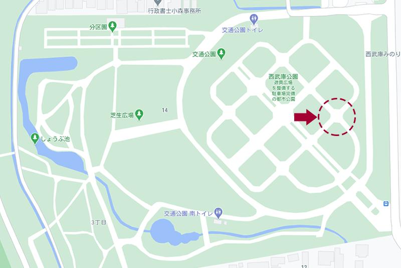 西武庫公園・通路の地図