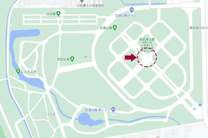 西武庫公園・ロータリーの地図