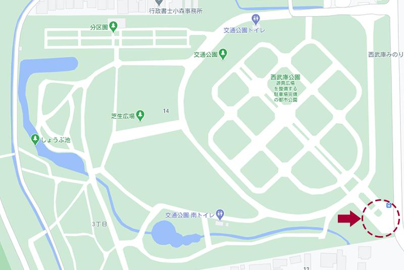 西武庫公園・屋台の地図