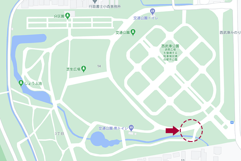 西武庫公園・水路の地図