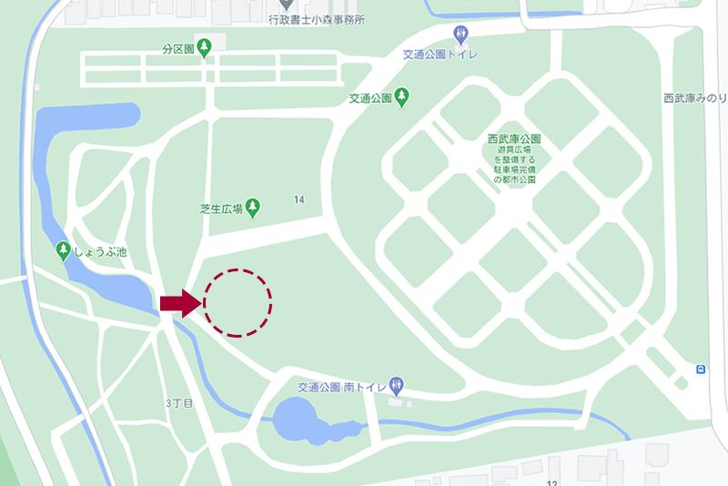 西武庫公園・芝生広場の地図