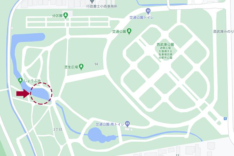 西武庫公園・菖蒲池の地図