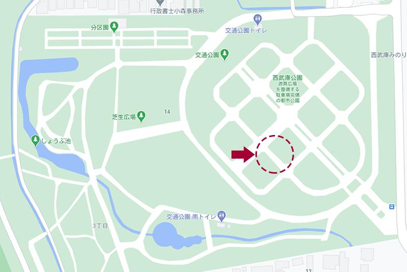 西武庫公園・遊具エリアの地図