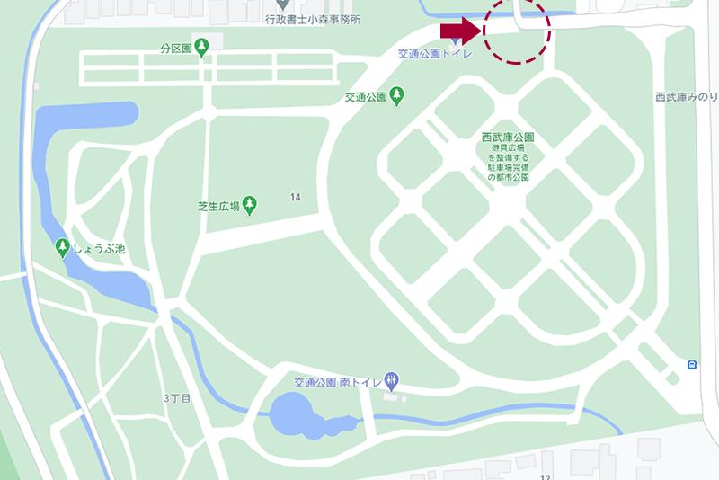 西武庫公園・水路(駐車場側)の地図
