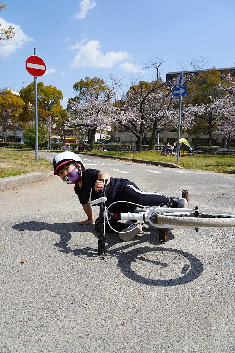自転車の練習・転倒