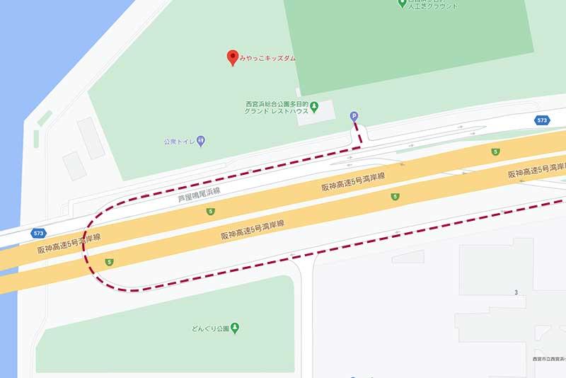 西宮浜総合公園(みやっこキッズダム)の駐車場までの地図