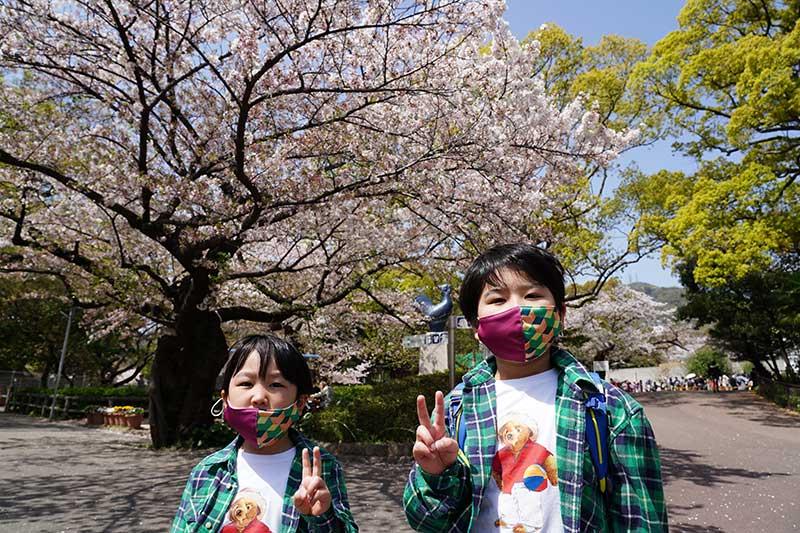 春の王子動物園の桜と子供達