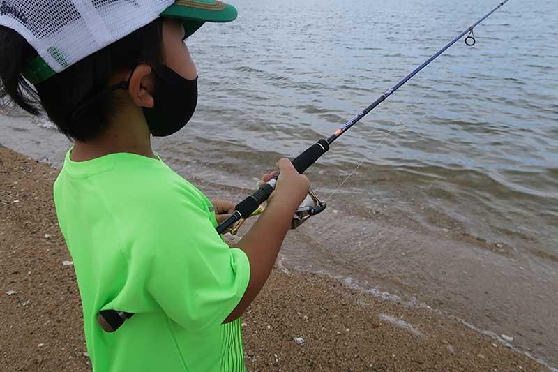 次男君の釣り姿
